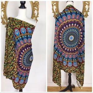 Other - Multicolor Mandala Print Scarf/Coverup OS